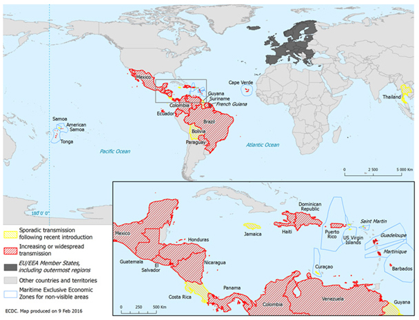 Slika 1. Države i područja sa zabilježenim autohtonim slučajevima Zika virusne infekcije